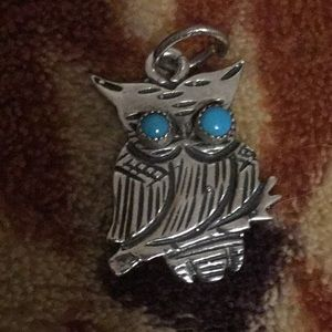 Turquoise Sterling Silver Owl Pendant